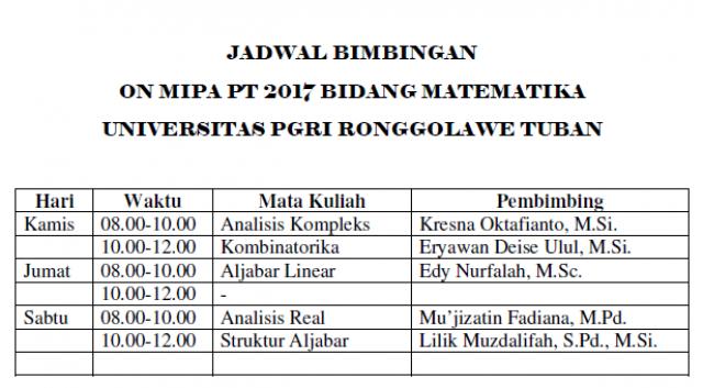 Jadwal bimbingan ON MIPA